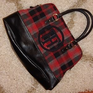 EUC Tommy Hilfiger Red Black Plaid Tote Purse